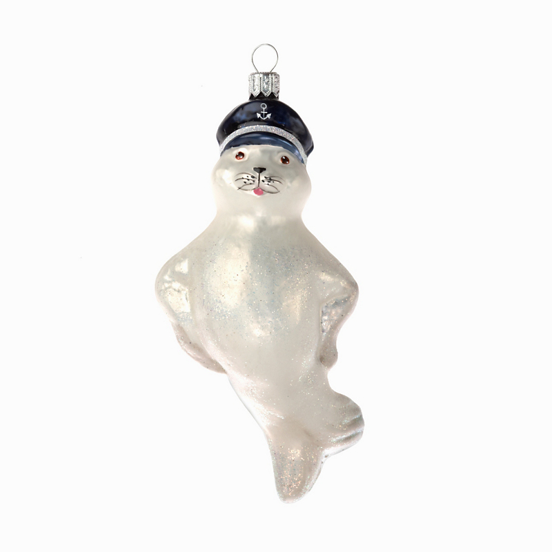 Seal In Nautical Hat Christmas Ornament