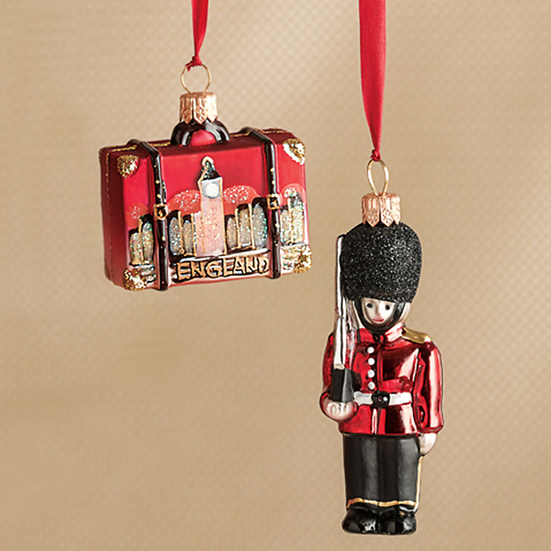 Palace Guard & England Suitcase Christmas Ornament