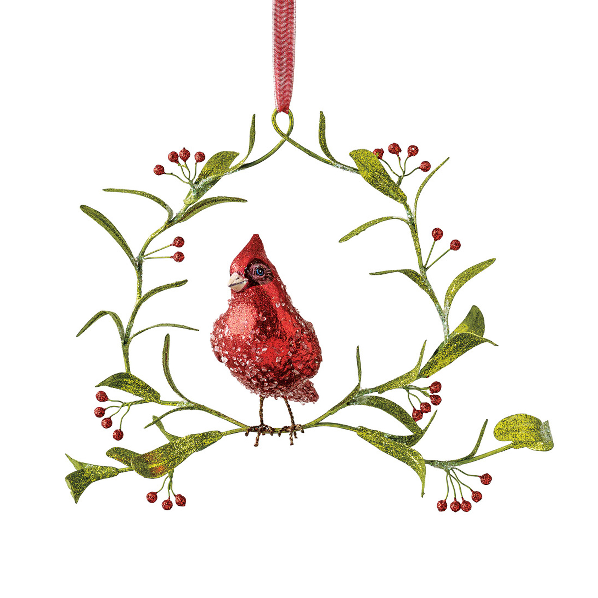 Cardinal On Wreath Christmas Ornament