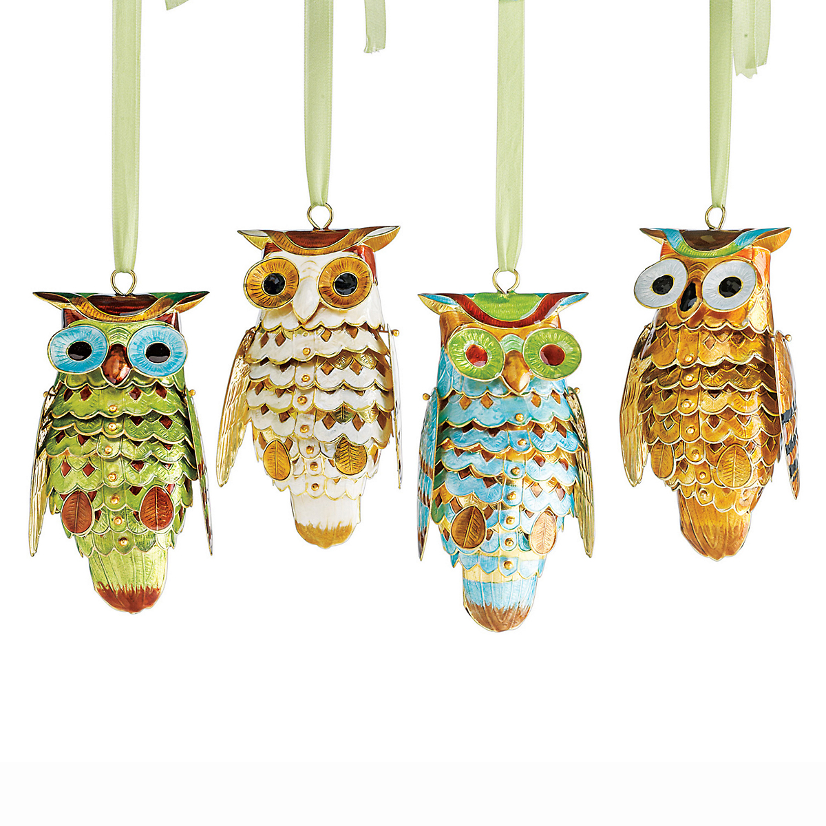 Cloisonne Owl Ornaments, Set Of 4