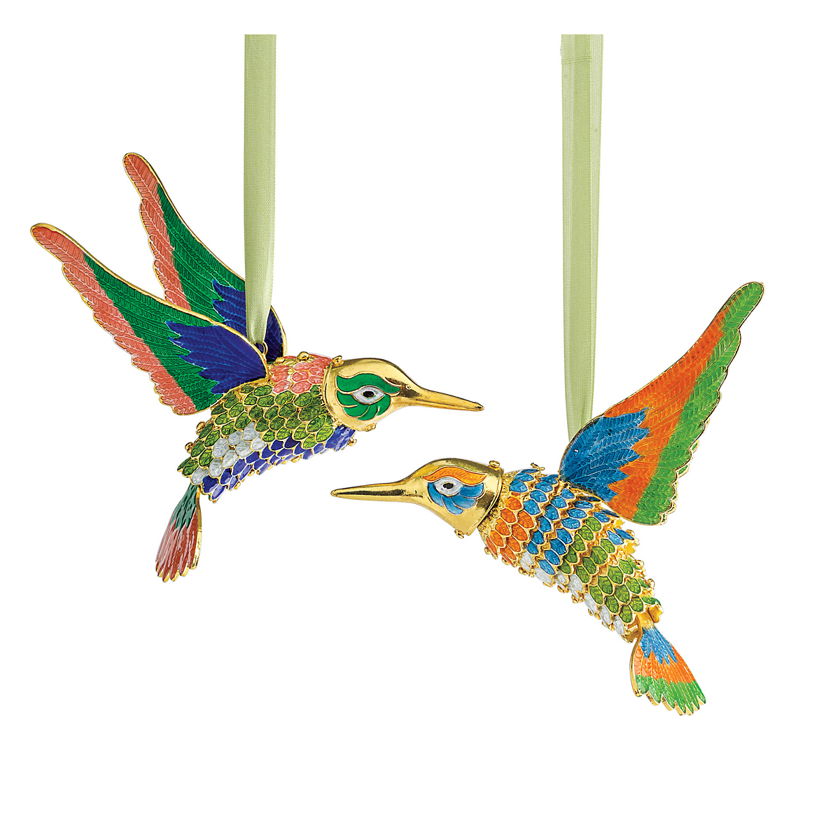 Cloisonne Hummingbirds Ornaments, Set Of 2