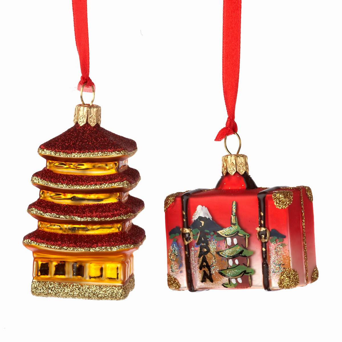 Suitcase & Pagoda Christmas Ornament