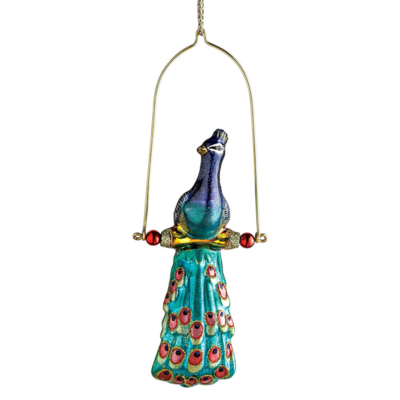 Peacock On A Swing Christmas Ornament