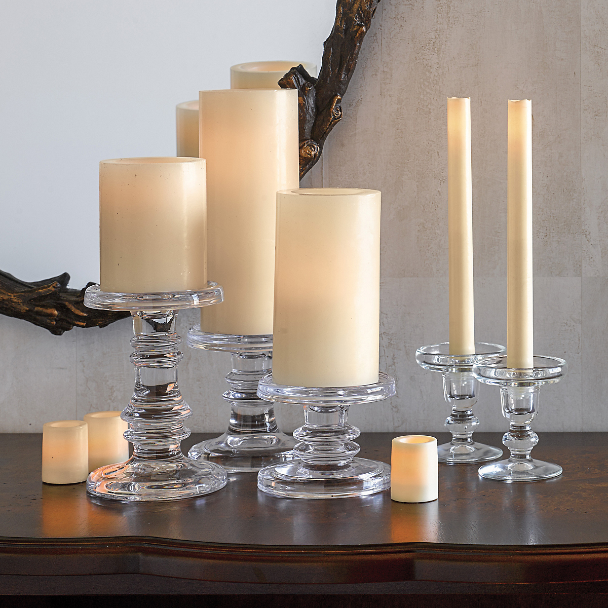 Flameless Wax Candles, Ivory