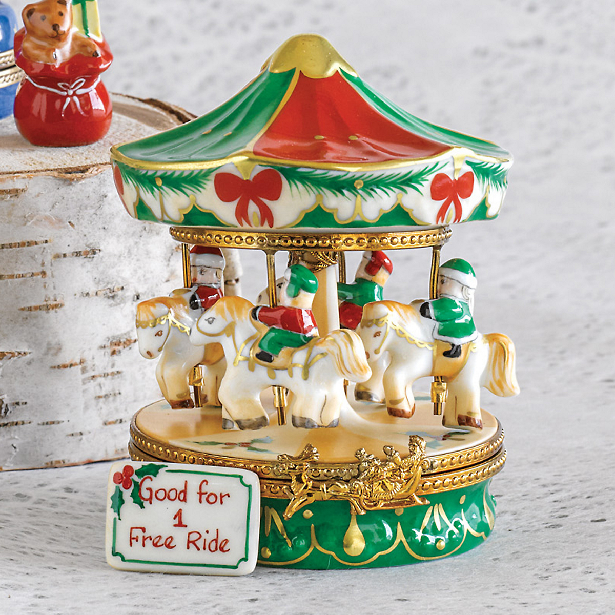 Limoges Christmas Carousel With Ticket