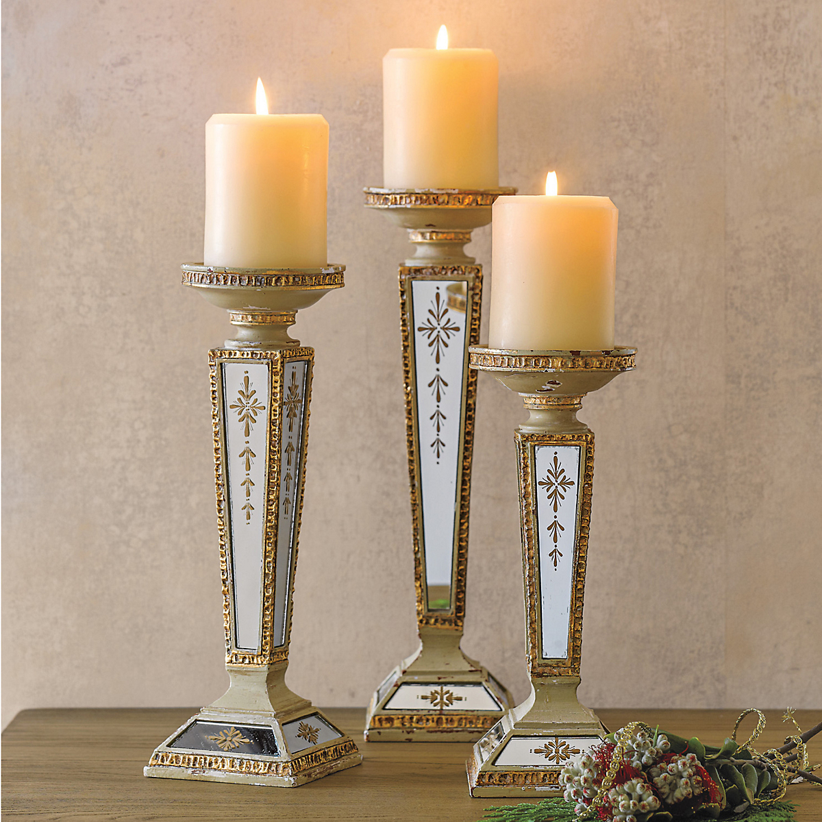 Antiqued Pillar Candleholders