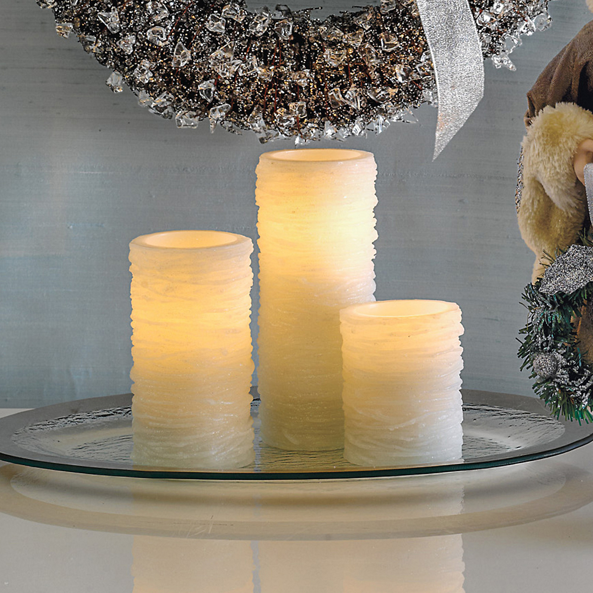 White Glitter Flameless Candles