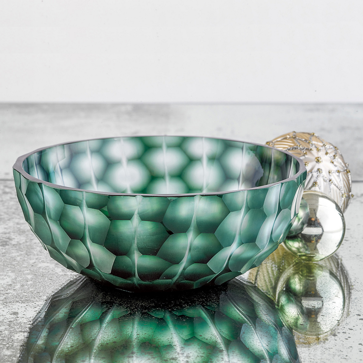 Emerald Green Cut Glass Bowl