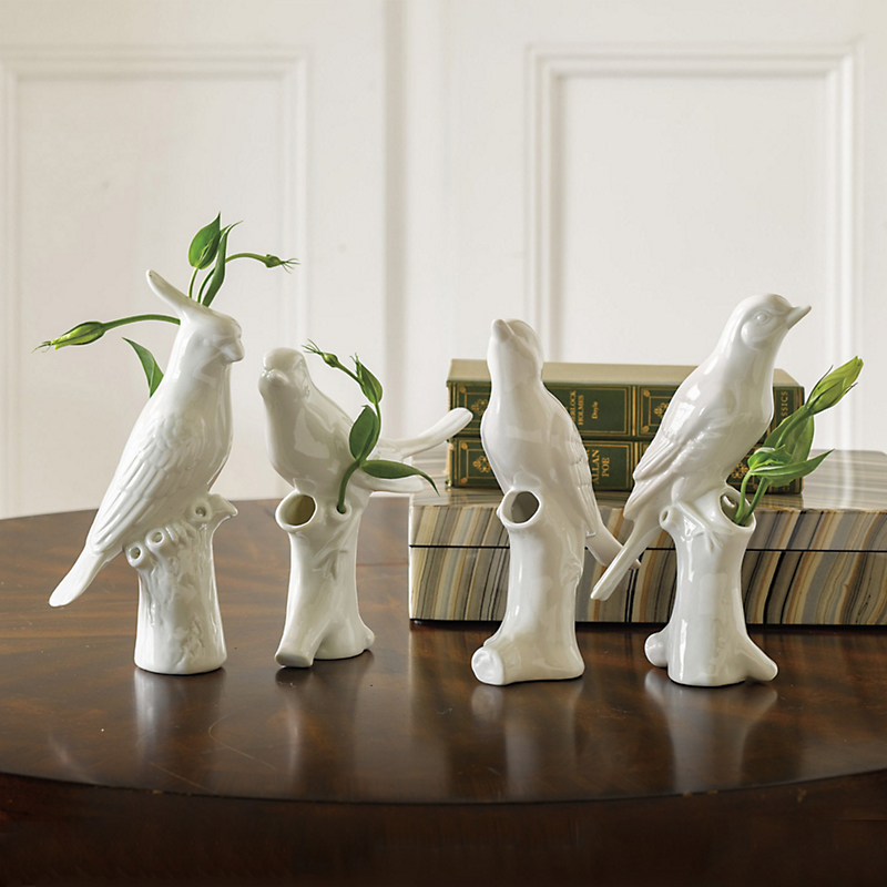 White Porcelain Bird Quartet, Set Of 4