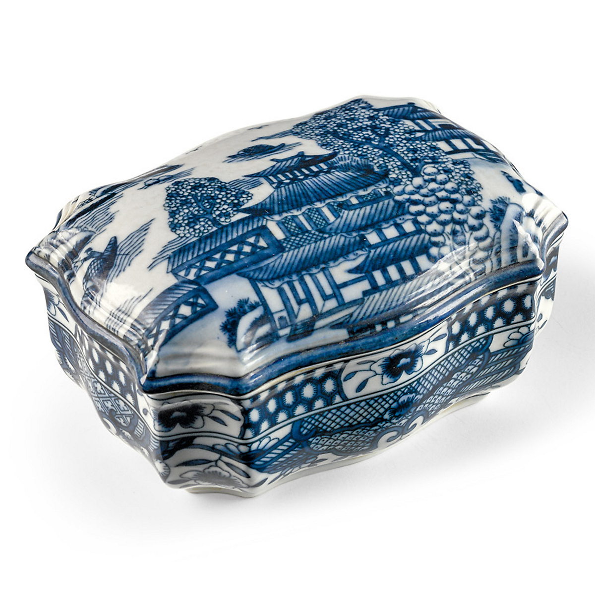 Blue Willow Porcelain Jar & Box