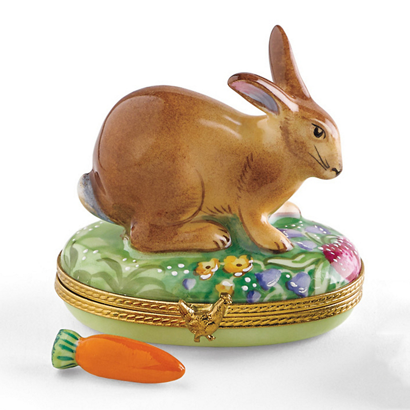 Limoges Cottontail Bunny With Carrot