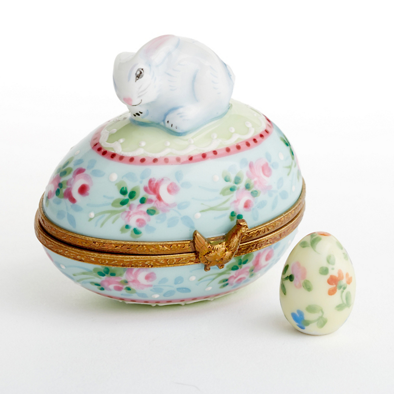 Limoges Easter Egg Bunny With Floral Egg