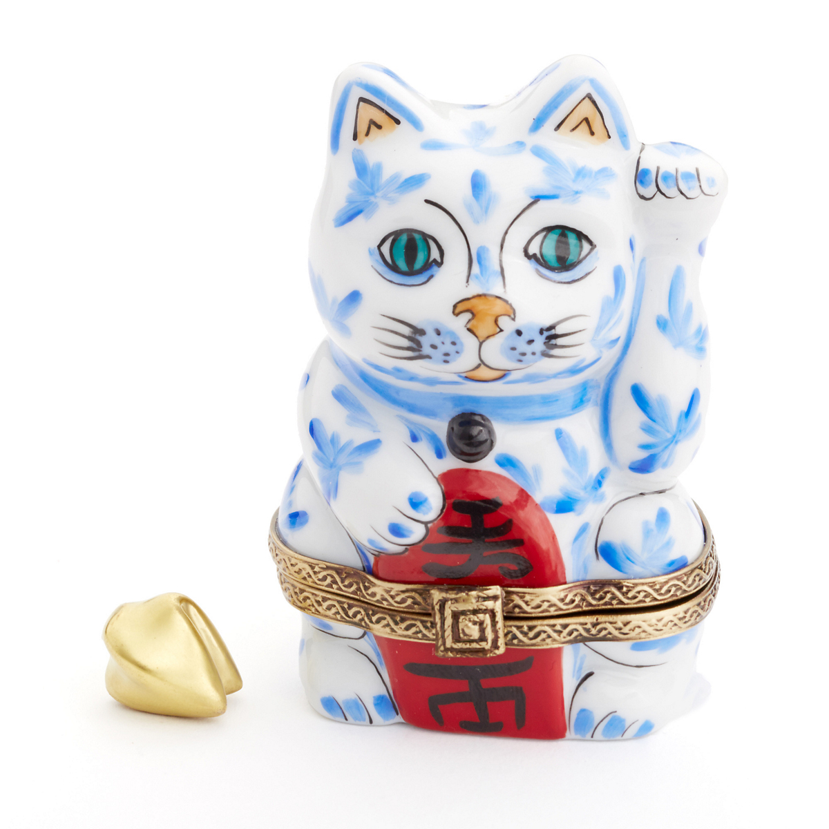 Limoges Beckoning Kitty With Fortune Cookie