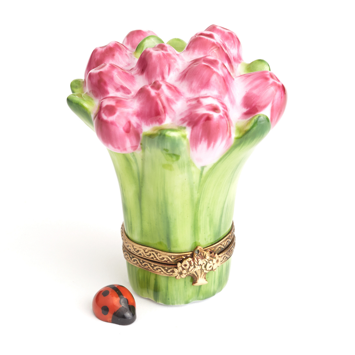 Limoges Bouquet Of Tulips With Ladybug