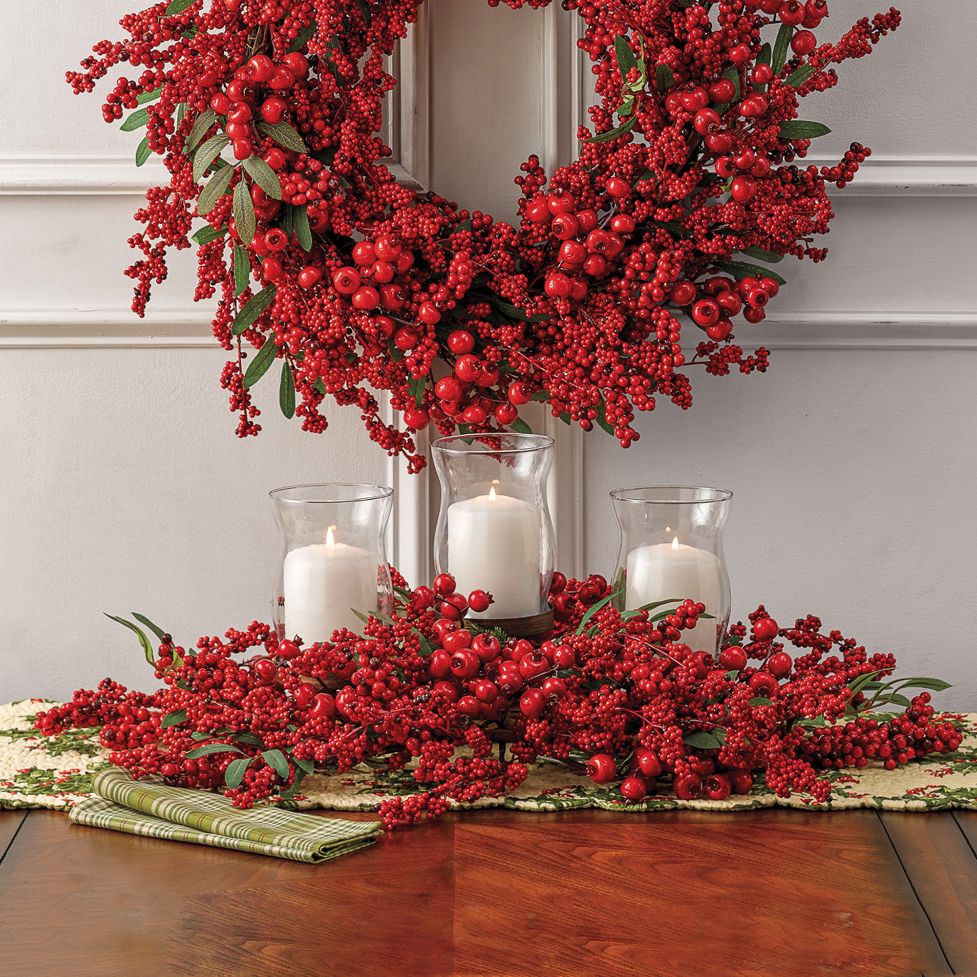 Merry Berry Christmas Hurricane Centerpiece