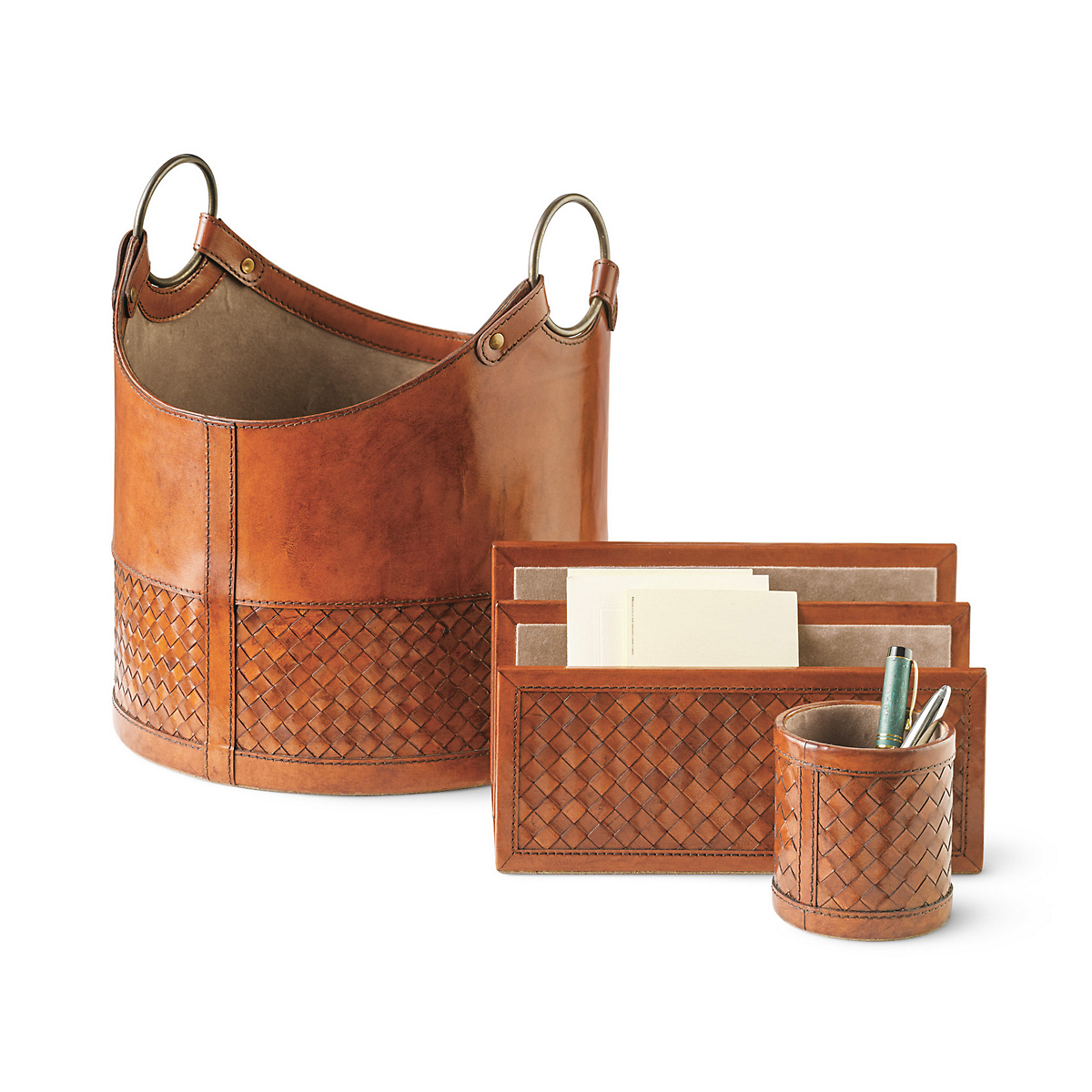 Woven Leather Desk Accessories Home Design Ideas