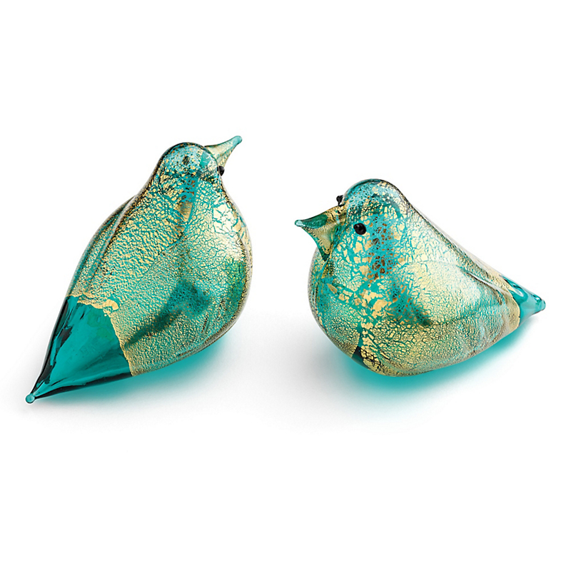Murano Turquoise Glass Doves, Set Of 2