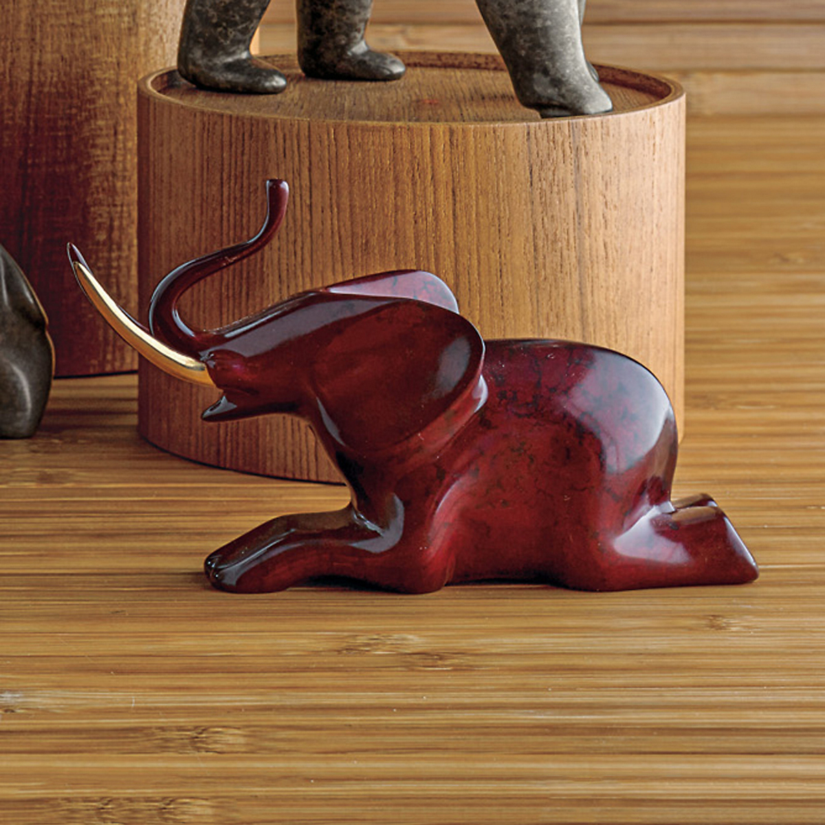 Loet Vanderveen Seated Elephant In Marbled Red