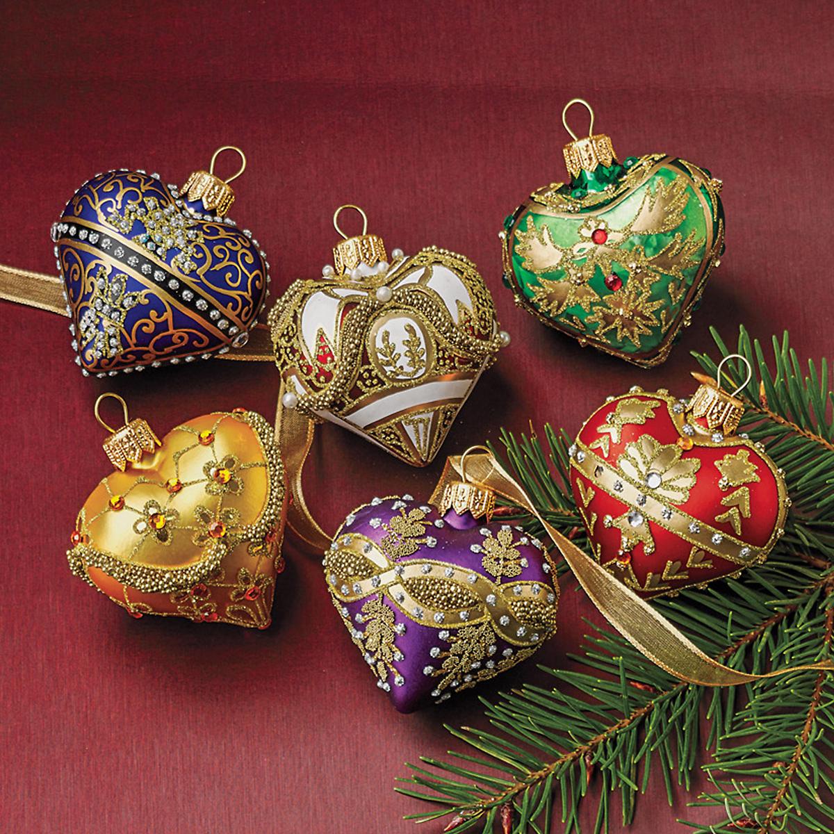 Embellished heart christmas ornament set gump s