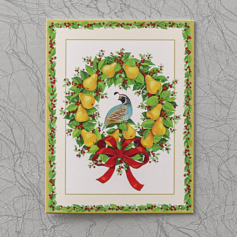 Caspari Personalized Partridge & Pear Wreath Cards, Box Of 50
