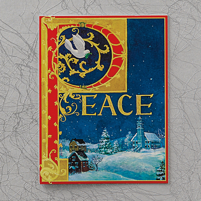 Caspari Personalized Peace Cards, Box Of 50