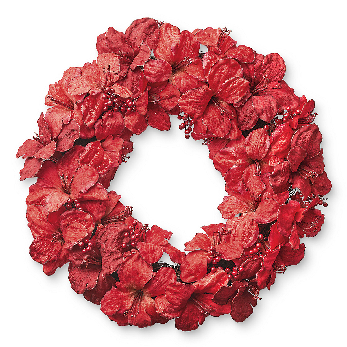 Amaryllis berry christmas wreath gump 39 s for Amaryllis christmas decoration