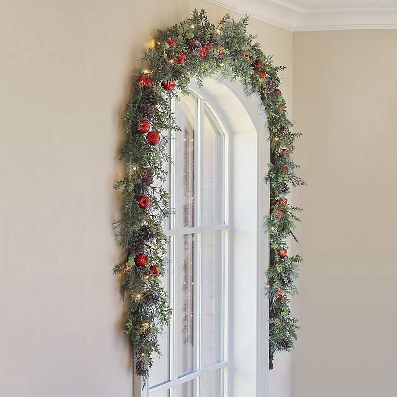 Pre-Lit Glitter Orchard Christmas Garland