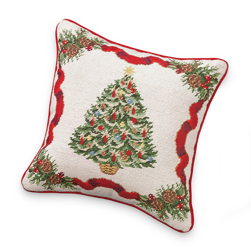 Festive Christmas Tree Needlepoint Pillow