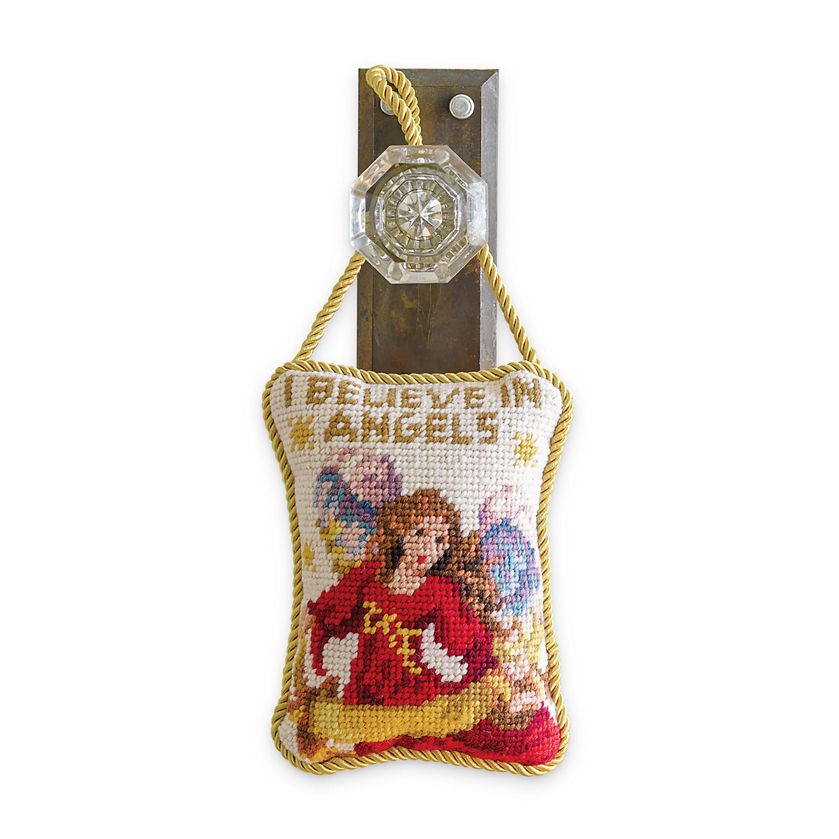 Angel Needlepoint Door Hanger, Red