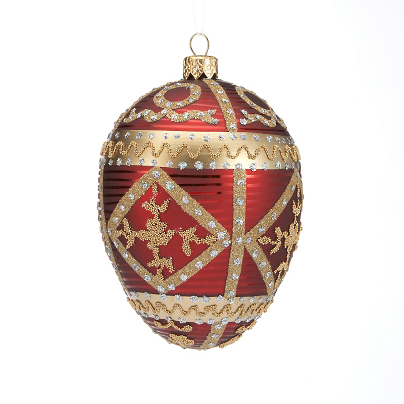 Embellished Egg Christmas Ornament, Burgundy