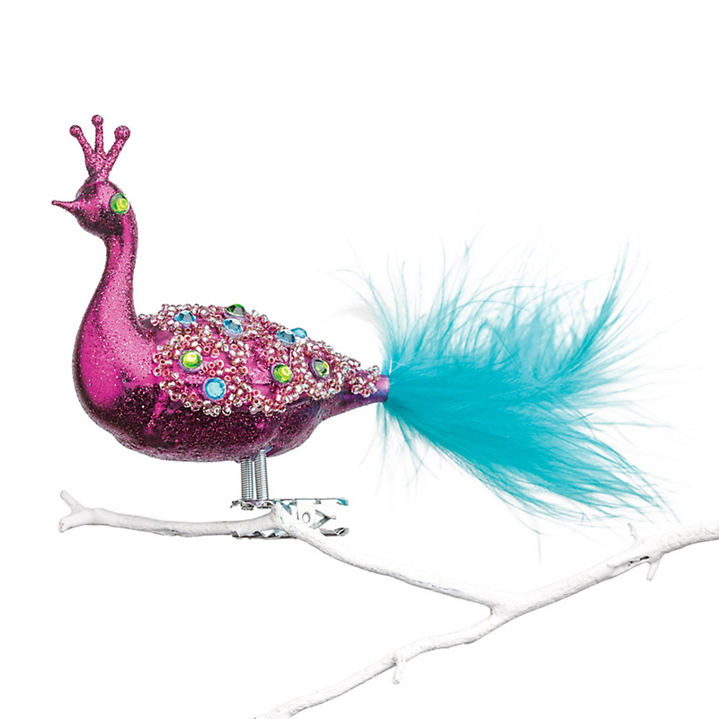 Jeweled Bird Clip Christmas Ornament