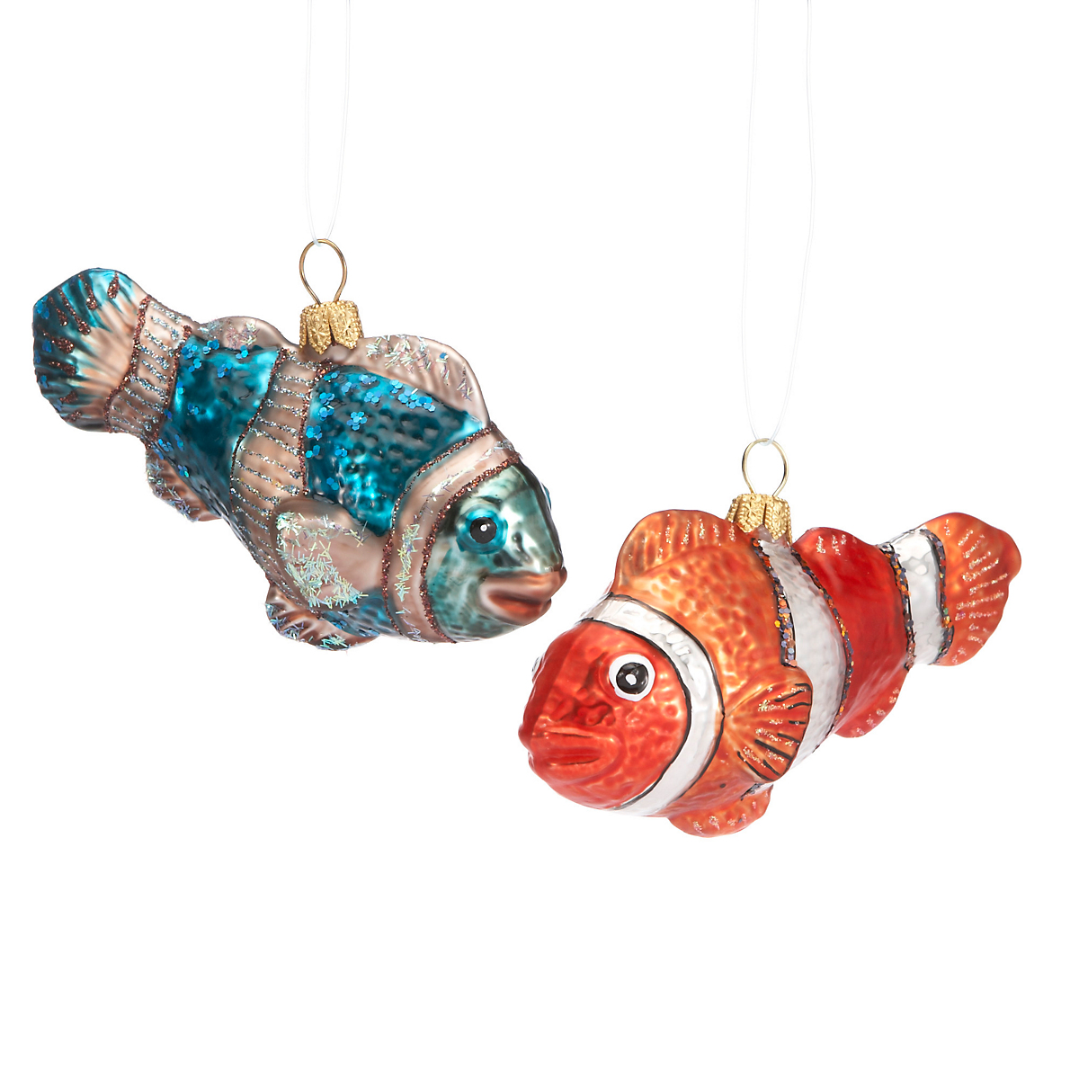 fish christmas ornaments set of 2 gump 39 s