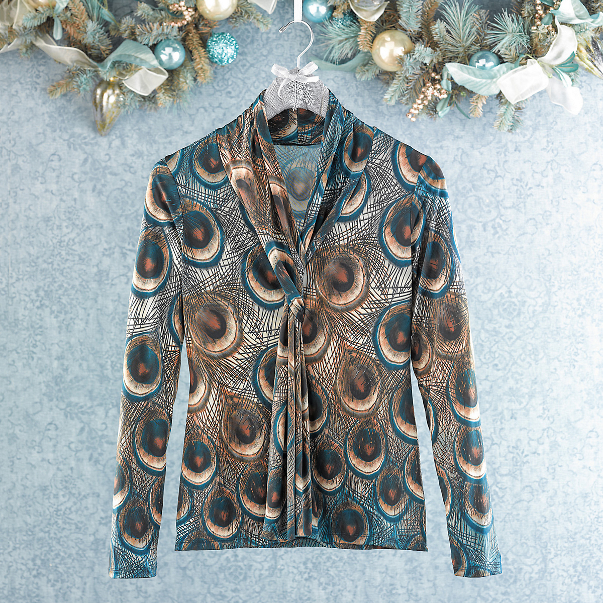 Peacock Scarf-Neck Blouse