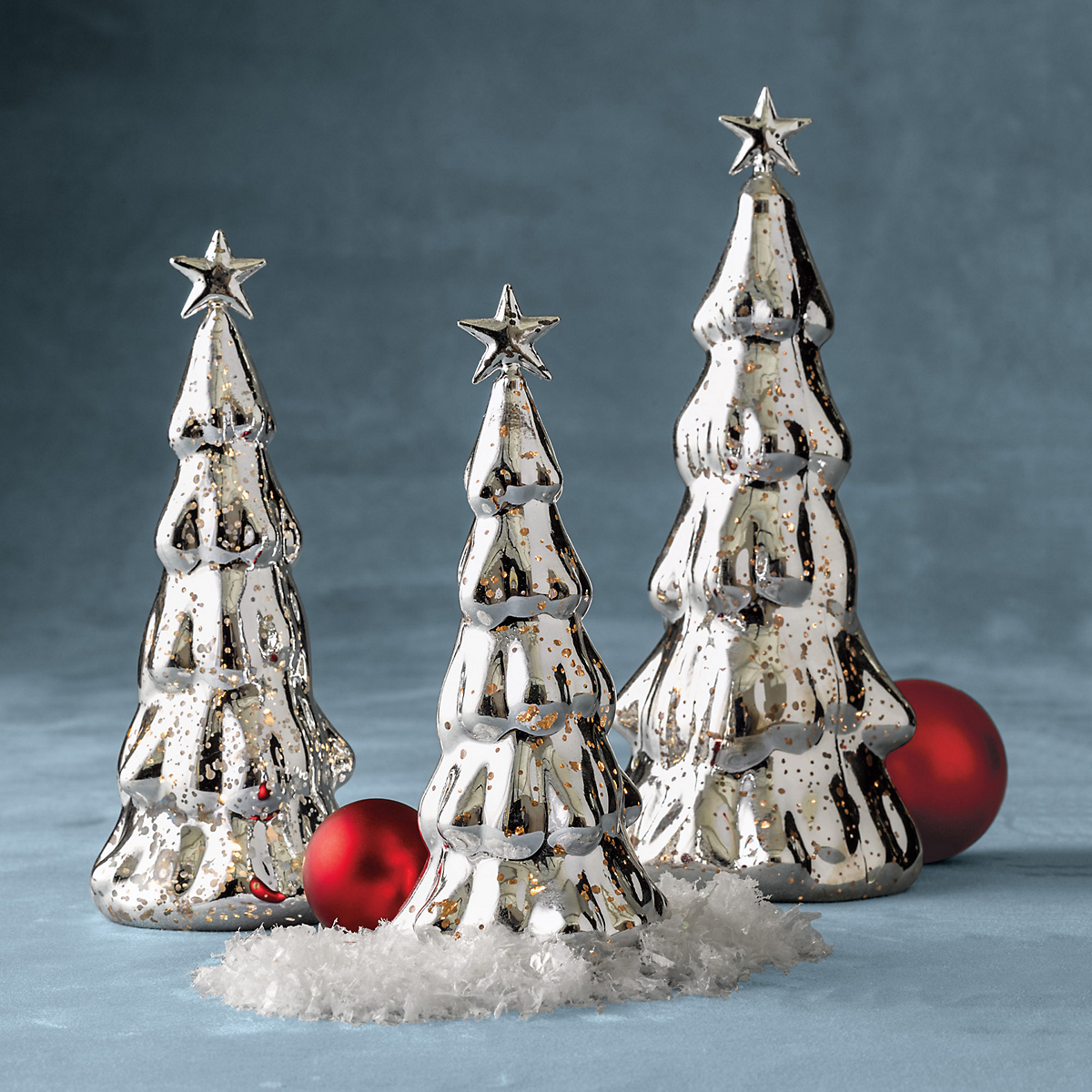 Mercury glass lighted trees gump s