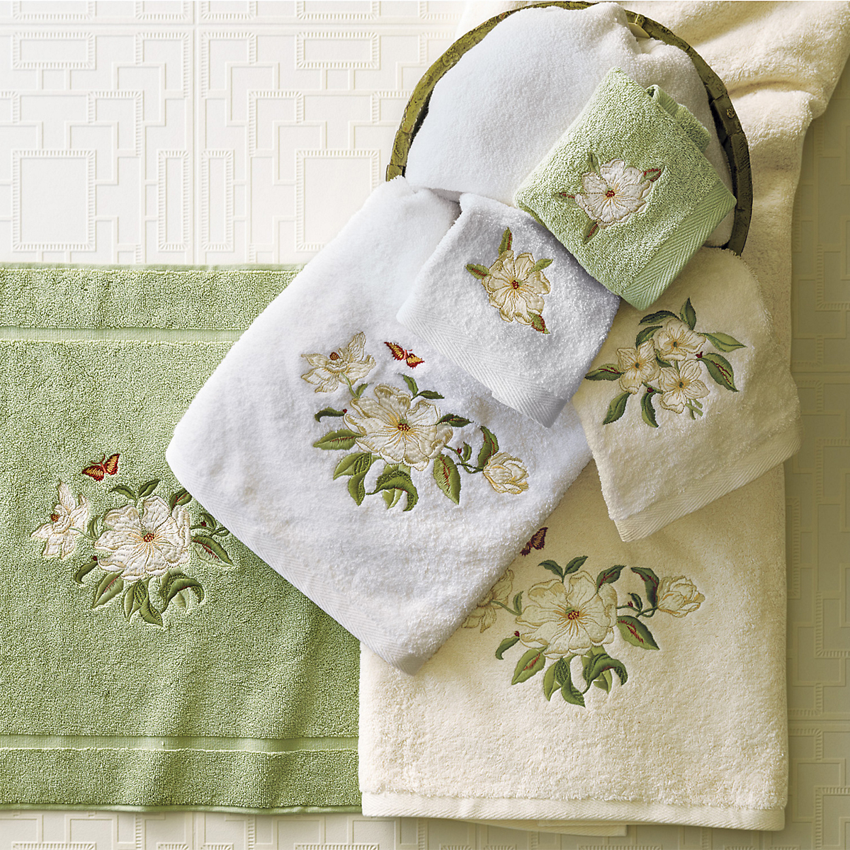 Magnolia Embroidered Towels