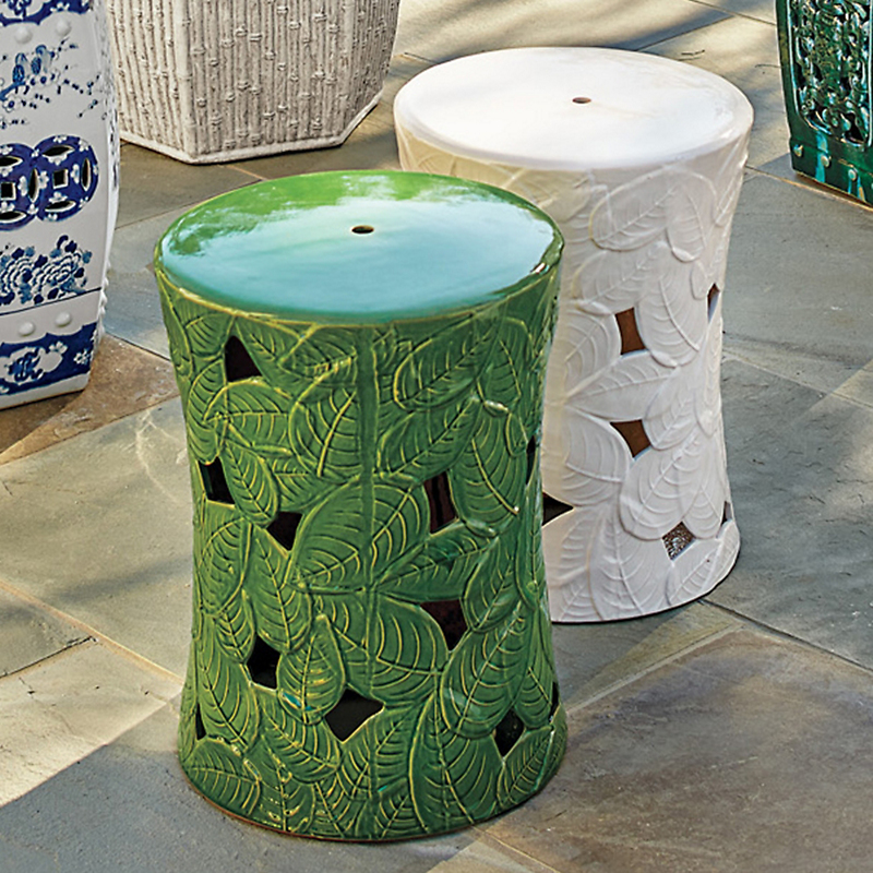 "Solid Leaf Garden Stool, 18""H"