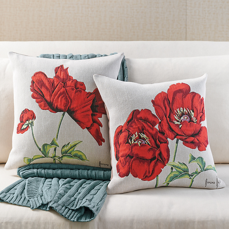 Red Poppy Tapestry Pillow