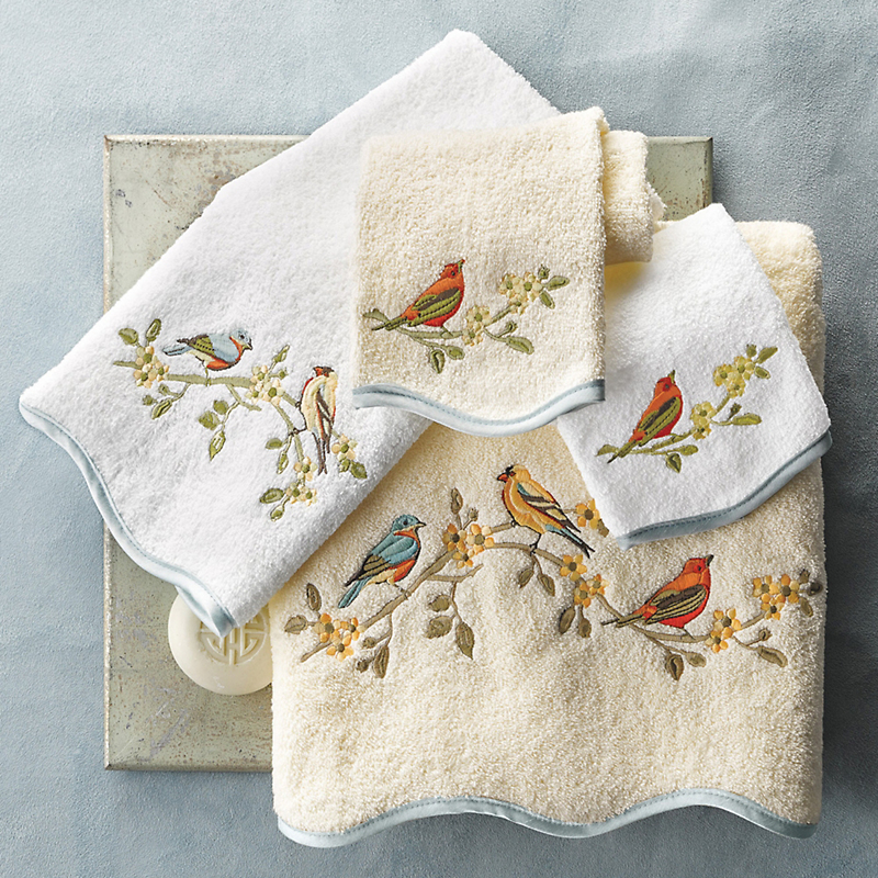 Embroidered Towels Online: Songbird Embroidered Towels