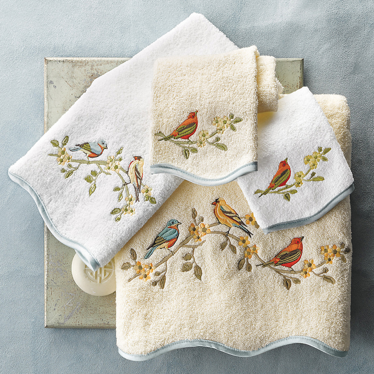 Songbird Embroidered Towels