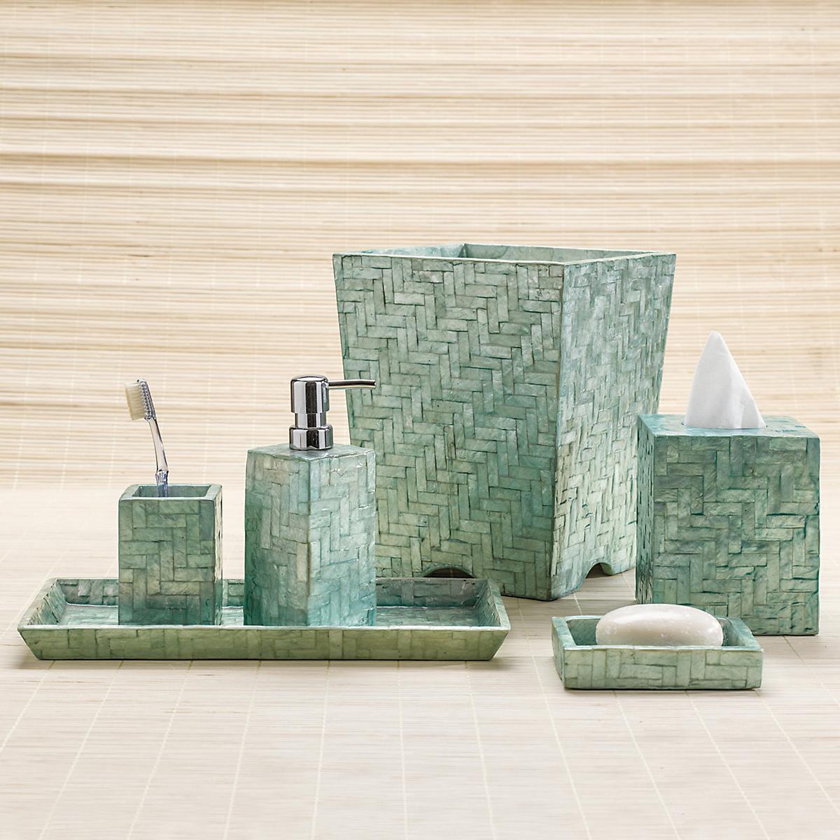 Herringbone Capiz Shell Bath Accessories Aqua