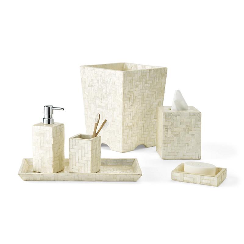 Herringbone capiz shell bath accessories ivory gump 39 s - Capiz shell bathroom accessories ...