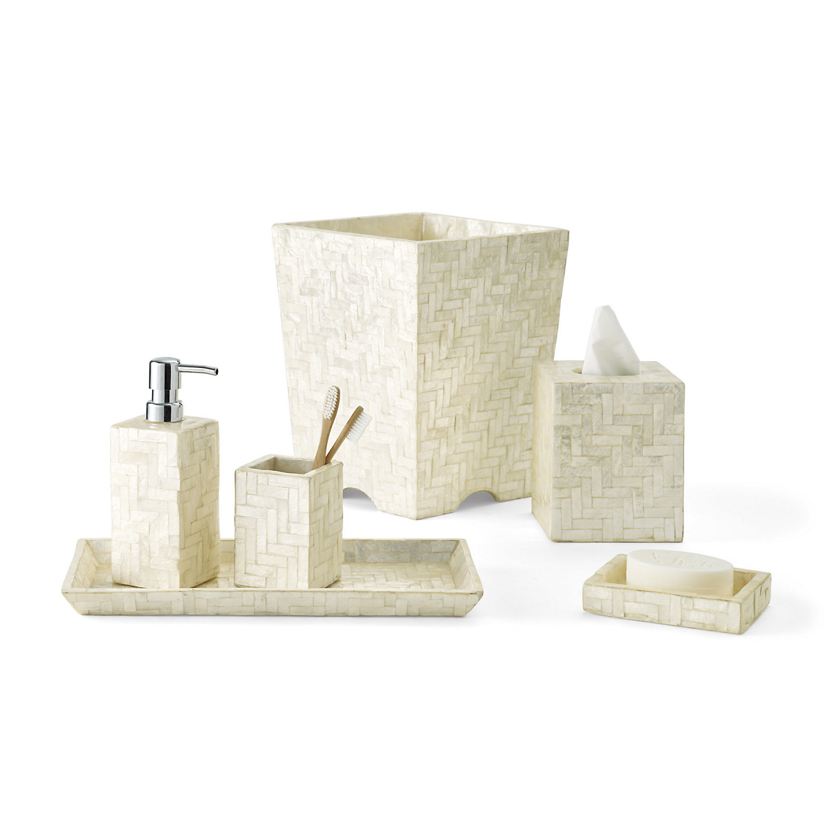 Herringbone Capiz Shell Bath Accessories Ivory Gump S