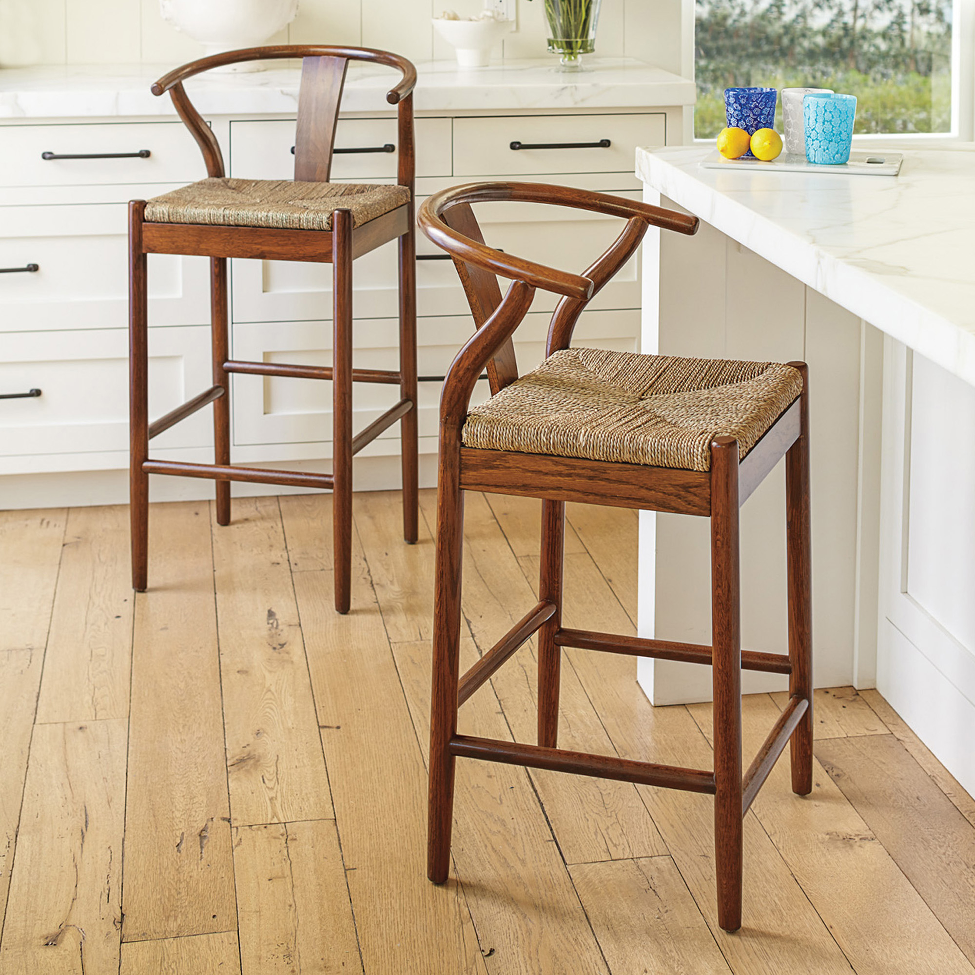 Horseshoe Bar & Counter Stools, Brown