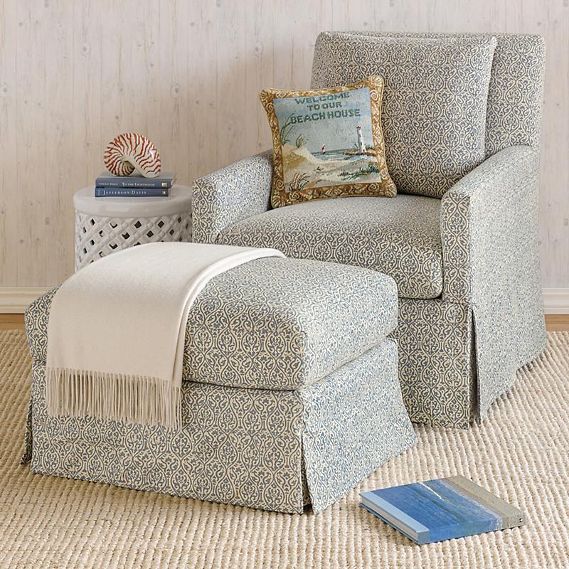 Miranda Swivel Glider Chair Amp Ottoman Blue Floral Gump S