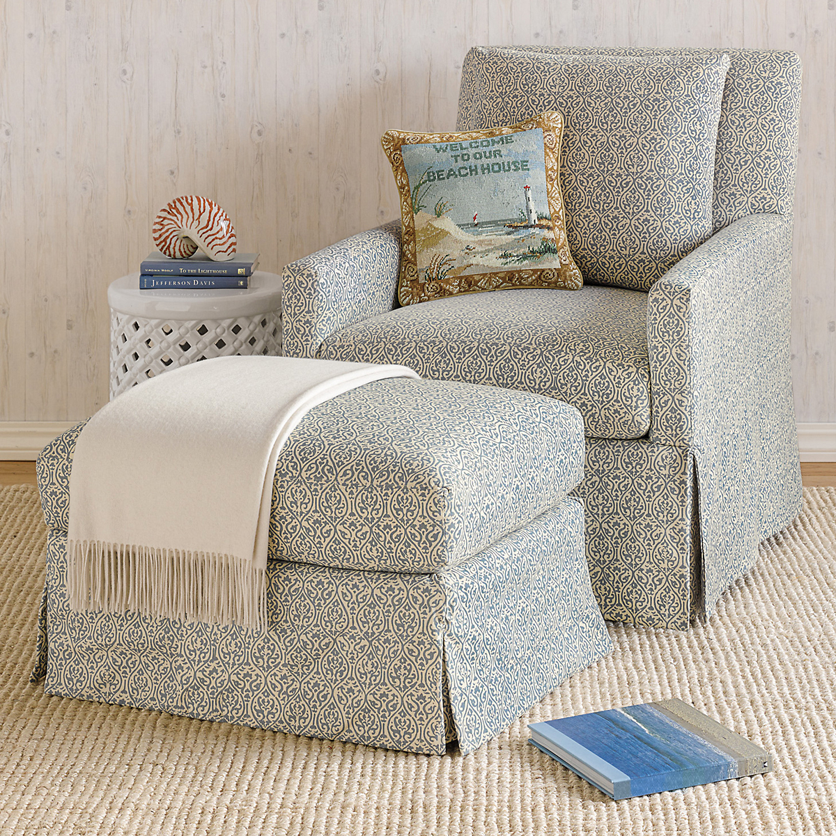 miranda swivel glider chair u0026 ottoman blue floral