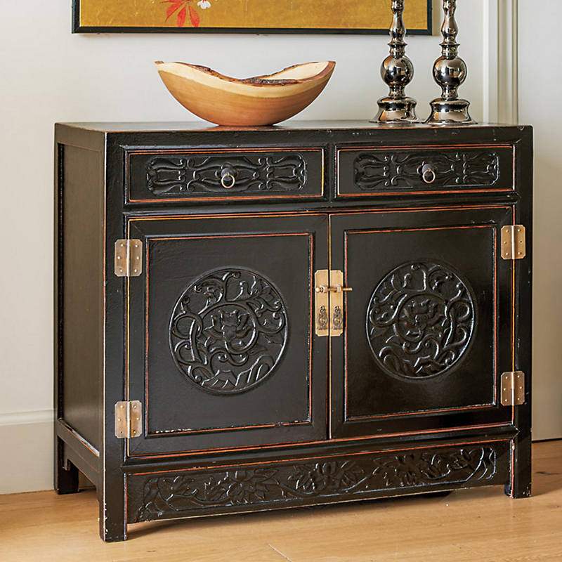 Shanghai Carved Cabinet, Black