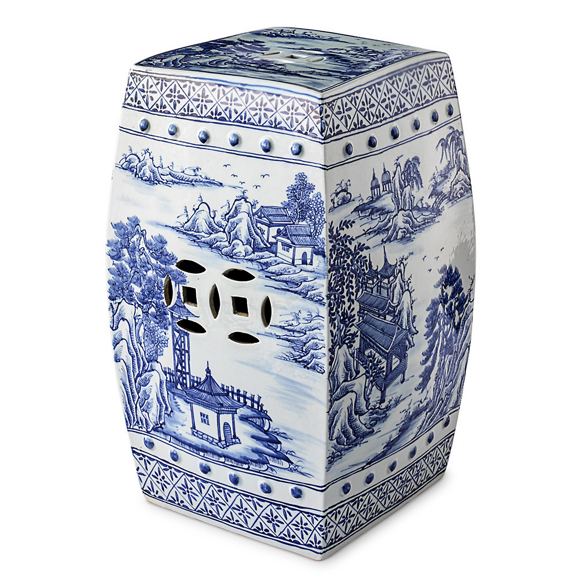 Blue & White Canton Garden Stool
