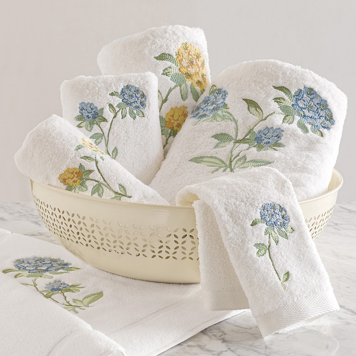 Embroidered Towels Online: Woodside Floral Embroidered Towels