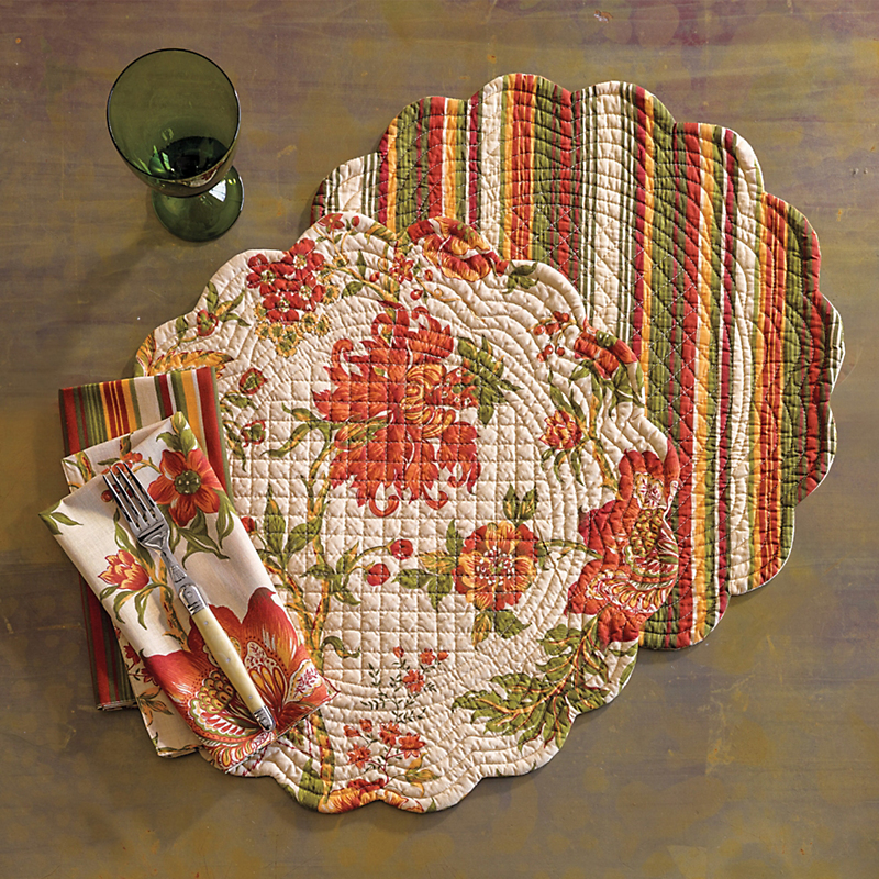 Chrysanthemum Reversible Napkins, Set of 4