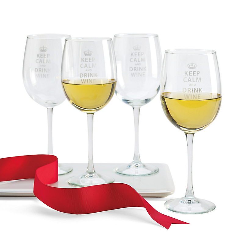 Keep Calm Wineglasses, Set Of 4